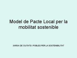 Model de Pacte Local per la mobilitat sostenible