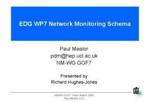 EDG WP 7 Network Monitoring Schema Paul Mealor