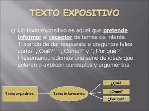 TEXTO EXPOSITIVO Un texto expositivo es aquel que
