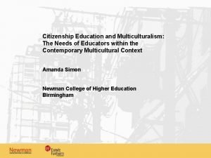 Citizenship Education and Multiculturalism The Needs of Educators
