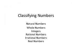 Classifying Numbers Natural Numbers Whole Numbers Integers Rational