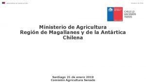 Gobierno de Chile MINISTERIO DE AGRICULTURA Ministerio de