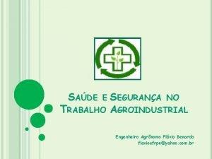 SADE E TRABALHO SEGURANA NO AGROINDUSTRIAL Engenheiro Agrnomo