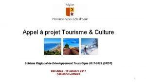 Appel projet Tourisme Culture Schma Rgional de Dveloppement