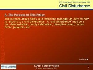 600 Emergency Response Guide 608 Civil Disturbance Emergency