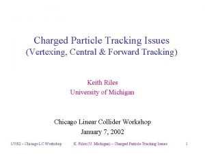 Charged Particle Tracking Issues Vertexing Central Forward Tracking
