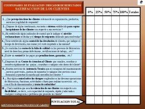 CUESTIONARIO DE EVALUACION INDICADOR DE RESULTADOS SATISFACCION DE