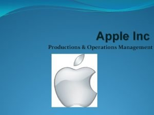 Apple Inc Productions Operations Management Operations Management Apple