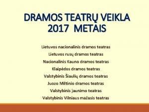DRAMOS TEATR VEIKLA 2017 METAIS Lietuvos nacionalinis dramos