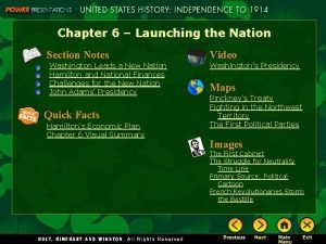 Chapter 6 Launching the Nation Section Notes Washington