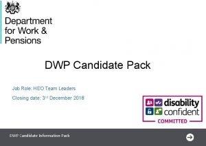 DWP Candidate Pack Job Role HEO Team Leaders