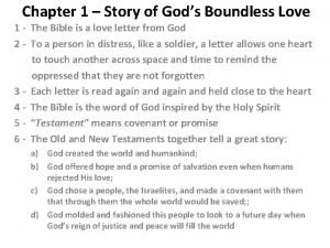 Chapter 1 Story of Gods Boundless Love 1