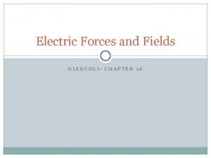 Electric Forces and Fields GIANCOLI CHAPTER 16 Electric