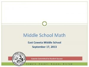 Middle School Math East Coweta Middle School September