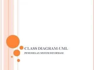 CLASS DIAGRAMUML PEMODELAN SISTEM INFORMASI CLASS DIAGRAM Class