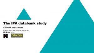 The IPA databank study Business effectiveness Analysis of