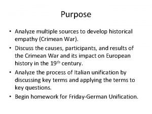 Purpose Analyze multiple sources to develop historical empathy