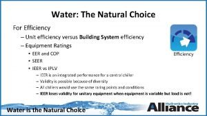 Water The Natural Choice For Efficiency Unit efficiency