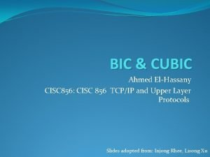 BIC CUBIC Ahmed ElHassany CISC 856 CISC 856