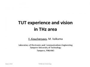 TUT experience and vision in THz area Y