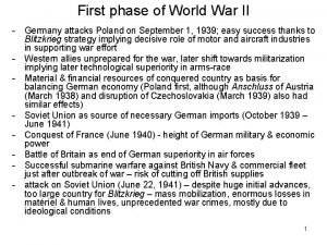 First phase of World War II Germany attacks