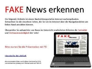 FAKE News erkennen Die folgende Website ist einem