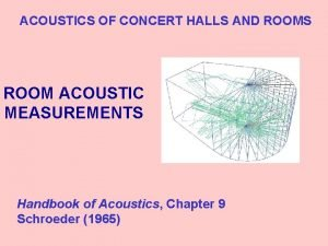 ACOUSTICS OF CONCERT HALLS AND ROOMS ROOM ACOUSTIC