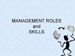 MANAGEMENT ROLES and SKILLS Define role A role