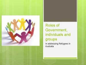 Roles of Government individuals and groups In addressing