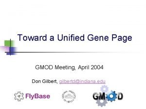 Toward a Unified Gene Page GMOD Meeting April