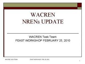 WACREN NRENs UPDATE WACREN Task Team FEAST WORKSHOP
