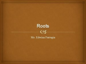 Roots Ms Edwina Farrugia What are roots The