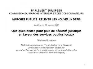 PARLEMENT EUROPEEN COMMISSION DU MARCHE INTERIEUR ET DES