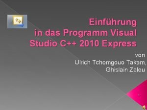 Einfhrung in das Programm Visual Studio C 2010