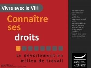 Vivre avec le VIH Connatre ses droits 1