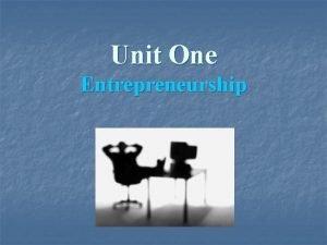 Unit One Entrepreneurship What is an Entrepreneur Name