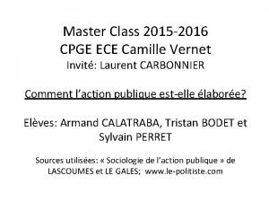 Master Class 2015 2016 CPGE ECE Camille Vernet