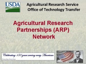 Agricultural Research Service Office of Technology Transfer Agricultural