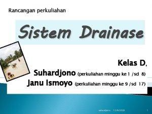 Rancangan perkuliahan Sistem Drainase Kelas D Suhardjono perkuliahan