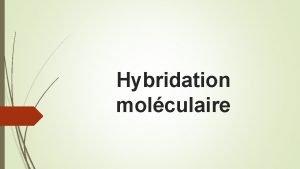 Hybridation molculaire Lhybridation est une proprit fondamentale des