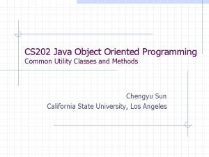 CS 202 Java Object Oriented Programming Common Utility