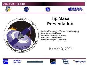 DINO CDR Tip Mass Presentation Anders Fornberg Team