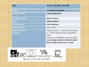 slo VY32 INOVACE TEC500 Ronk 2 Cukrsk technologie