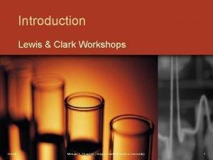 Introduction Lewis Clark Workshops Oct09 Michael S Chapman