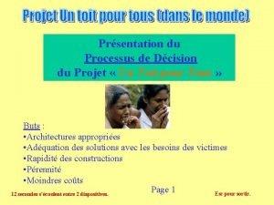 Prsentation du Processus de Dcision du Projet Un