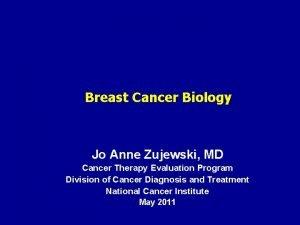 Breast Cancer Biology Jo Anne Zujewski MD Cancer