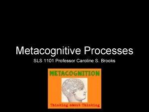 Metacognitive Processes SLS 1101 Professor Caroline S Brooks