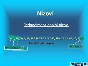 Nizovi Jednodimenzionalni nizovi 34 5 98 56 2