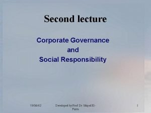 Second lecture Corporate Governance and Social Responsibility 190442