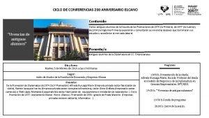 CICLO DE CONFERENCIAS 200 ANIVERSARIO ELCANO Contenido Vivencias